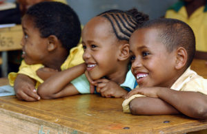 Primary school children in class, in Harar, Ethiopia.