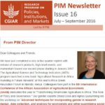 PIM Newsletter: July – September 2016