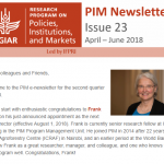 PIM Newsletter: April – June 2018